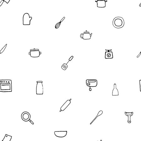 Vector seamless pattern of hand drawn kitchen stuff. .