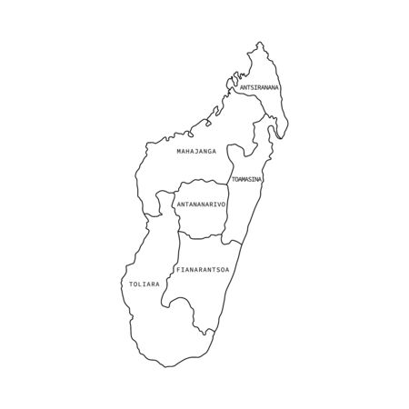 Vector illustration of administrative division map of Madagascar. Vector map.
