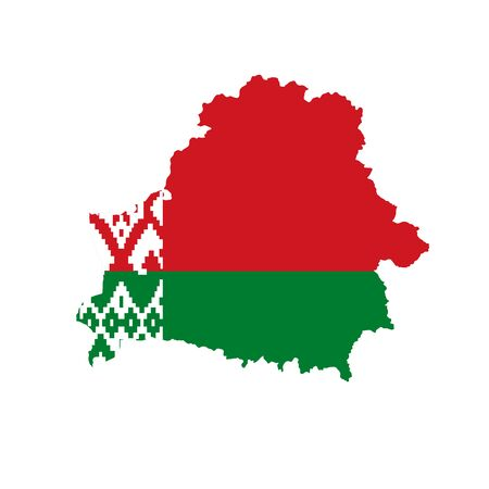 Vector illustration of Belarus flag map. Vector map. Illustration