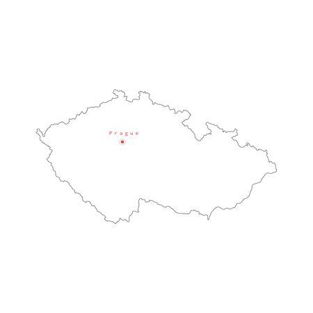Vector illustration of outline Czech map with capital city Prague. .
