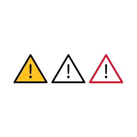 Vector set of exclamation sign. Triangle danger sign. .