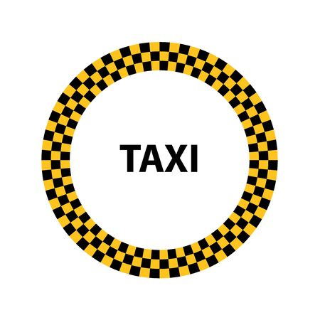 Vector illustration of round taxi service sign.