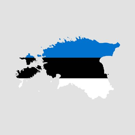 Vector illustration of Estonia flag map. Vector map..