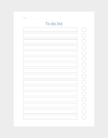 Vector daily to do list planner. Planner page..