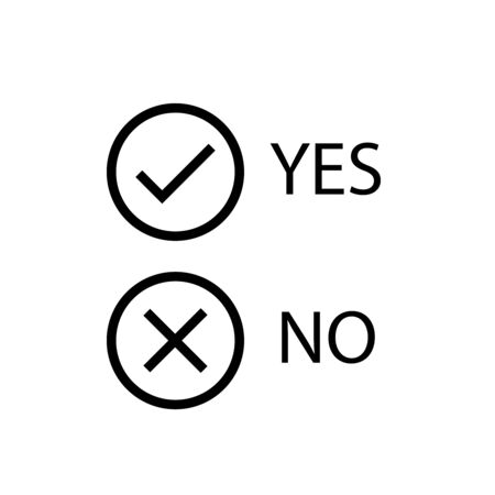 Yes, no vector signs. Tick and cross black icons.