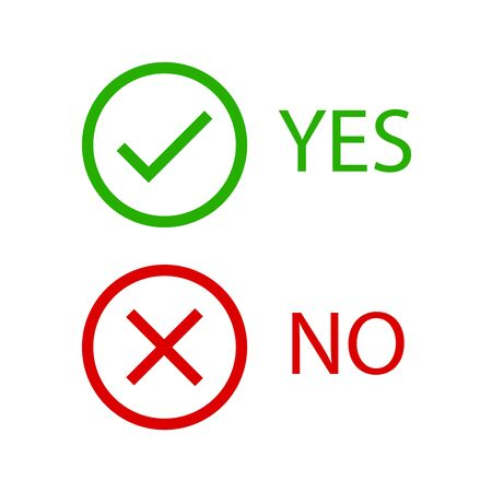 Yes, no vector signs. Tick and cross icons.