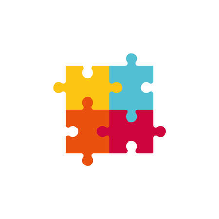 Vector illustration of four colorful jigsaw puzzle pieces. Ilustração
