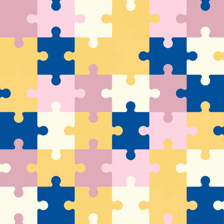 Vector seamless pattern of colorful jigsaw puzzle pieces. Illusztráció