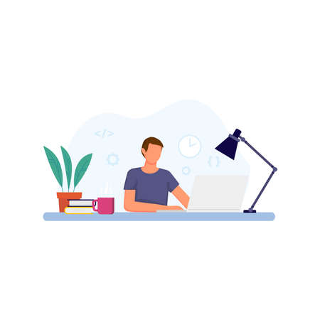 Vector illustration of man working on laptop.