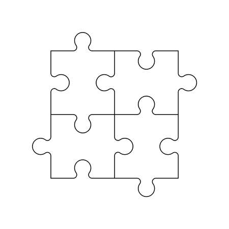 Vector illustration of four black outline jigsaw puzzle pieces. Ilustração