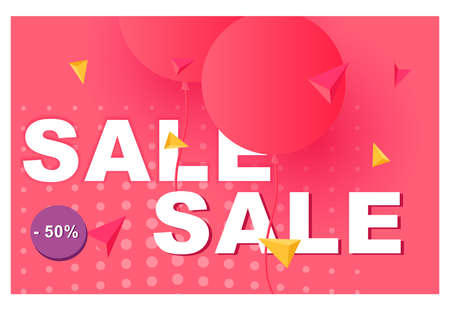 Vector 3d sale banner. Banner design.
