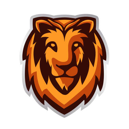 Vector illustration of lion. Lion head mascot.