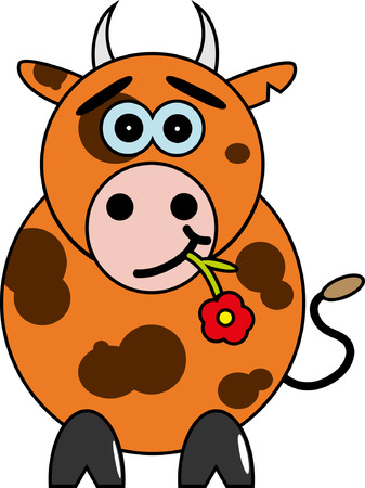 cartoon bull with a red flower  Vector