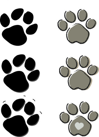 Cute pets dogs and cats paw print isolated on white