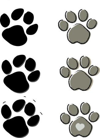 paw print: Mascotas perros y gatos lindos de la impresi�n de aislados en blanco