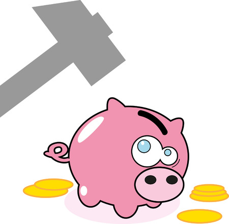 Cartoon pink pig money box and hummer  Vector