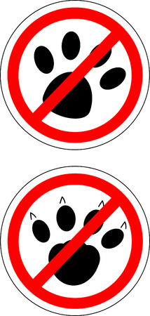dog allowed: Sign no cats and dog Illustration