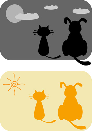Cartoon cat and dog   Vector