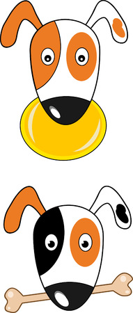 Cartoon Jack russel terrier and bone  Vector