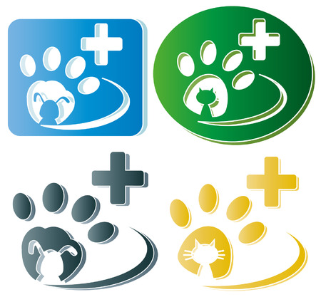 Creative design of dog and cat paw   Vector