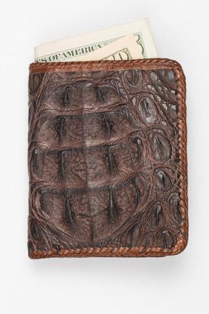 Money in Hand made purse from alligator skin  photo