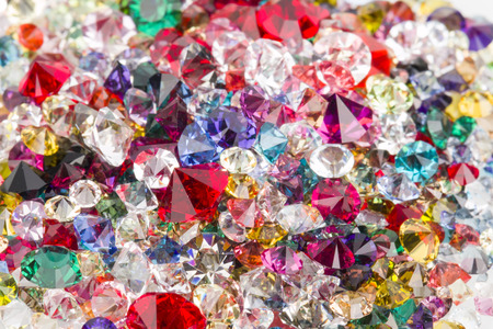 gemology: Collection of many different natural gemstones  Stock Photo