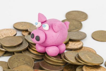 child s block: Piggy bank Stock Photo