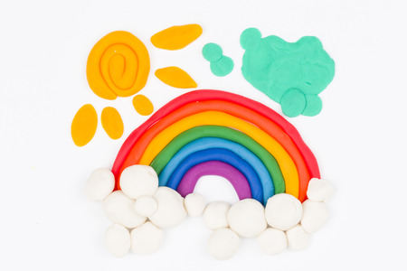 Plasticine rainbow  Stock Photo
