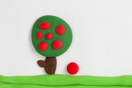 Plasticine fruit tree  Stock Photo