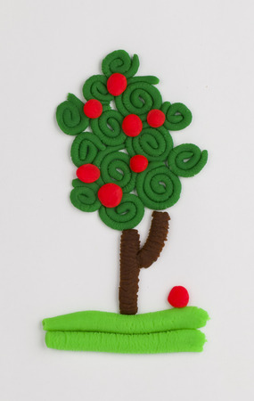 Fruit tree from children bright plasticine  photo