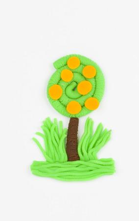 arbre fruitier: Plasticine arbre fruitier Banque d'images