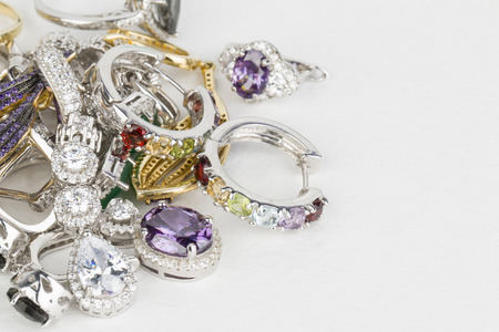 silver jewelry: Many fashionable womens jewelry - Stock Image macro.