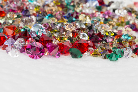 Collection of many different natural gemstones. Stock Image macro. Archivio Fotografico
