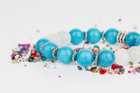 bead jewelry: Homemade bead jewelry - Stock Image.