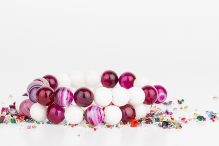 Homemade bead jewelry - Stock Image.