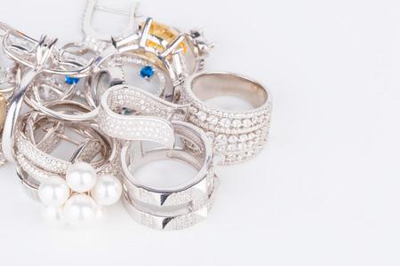 silver jewelry: Many fashionable womens jewelry - Stock Image macro.