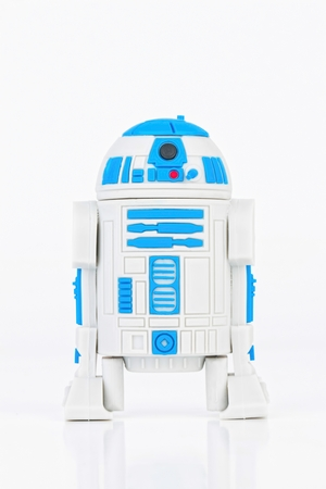 robot war: Rostov - on - Don, Russia - July 31, 2015: Studio shot of R2-D2 Robot rubber mini figure from the Star Wars.