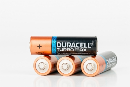 alkaline: Rostov - on - Don, Russia - July 30, 2015: Duracell Turbo Max alkaline AA battery.