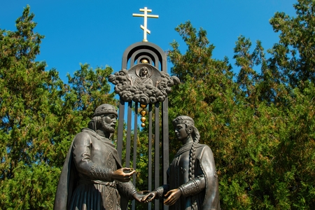 betrothal: Rostov - on - Don, Russia - August 09, 2015: Monument of a betrothal of prince Pyotr and princess Fevroniya Muromskikh, established in in park Revolution in Rostov - on - Don.