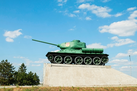 t34: Rostov - on - Don, Russia - August 20, 2015: Legendary of the Second World War soviet medium tank T-34 on a pedestal, established in Rostov-on-Don.