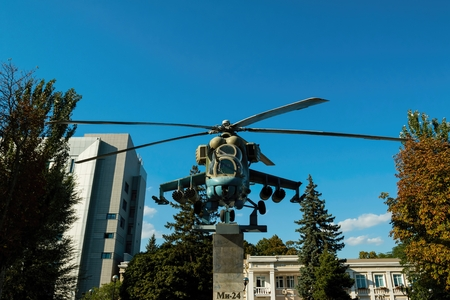 lenina: Rostov - on - Don, Russia - September 09, 2015: Russian helicopter Mi - 24 monument, established in Lenina avenue in Rostov - on - Don. Editorial
