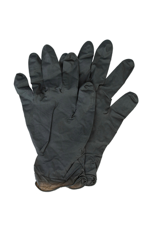 protective gloves: Black Surgical Latex Glove. Stock Image macro.
