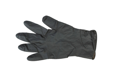 utiles de aseo personal: Black Surgical Latex Glove. Stock Image macro.