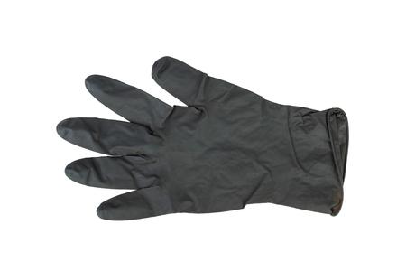 utiles de aseo personal: Negro Guantes de látex quirúrgico. Macro Stock Image. Foto de archivo