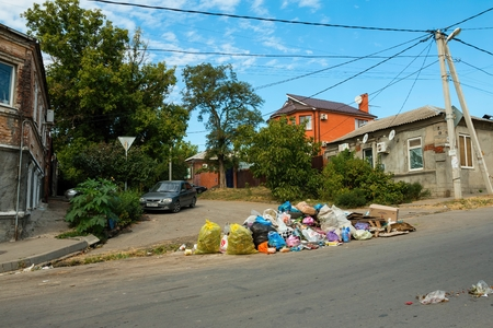 Rostov - on - Don, Russia - September 09, 2015: Garbage bags on the sidewalk, established in Rostov - on - Don near Green Island.