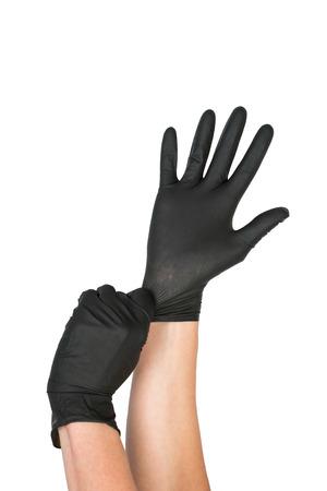 Noir chirurgical gant de latex. Macro Image de l'éditeur. Banque d'images - 45611985