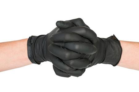 latex glove: Black Surgical Latex Glove. Stock Image macro.