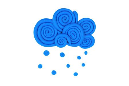 soft toys: Cloud from children bright plasticine - Stock Image macro.