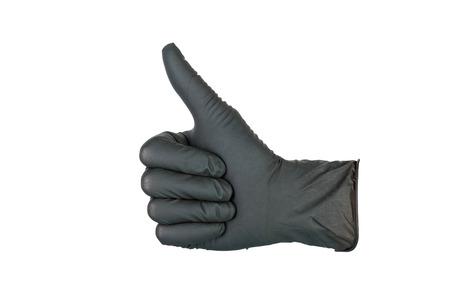 utiles de aseo personal: Mano en guante médico negro.