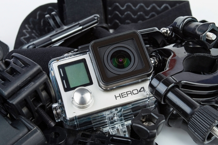 pro: Rostov - on - Don, Russia October 14, 2015: Go Pro Hero 4 Black Edition. Go Pro is a brand of high-definition personal camera, often used in extreme action video photography.